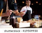sushi chef making nigiri.... | Shutterstock . vector #419509930