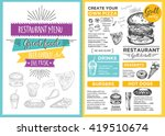menu placemat food restaurant... | Shutterstock .eps vector #419510674