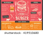 menu placemat food restaurant... | Shutterstock .eps vector #419510680