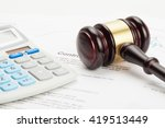judge's gavel and calculator... | Shutterstock . vector #419513449
