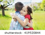beautiful child in a red dress... | Shutterstock . vector #419520844