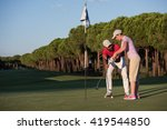 male golf instructor teaching... | Shutterstock . vector #419544850