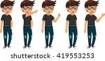 cute five man cartoon are... | Shutterstock .eps vector #419553253