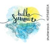 illustration hello summer with... | Shutterstock .eps vector #419568514