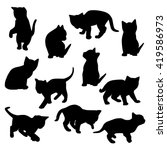 Stock vector collection of vector kitten silhouettes 419586973