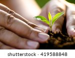 close up male hand planting... | Shutterstock . vector #419588848