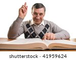 Senior man with book (isolated on white) - stock photo