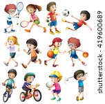children doing different sports ... | Shutterstock .eps vector #419600689