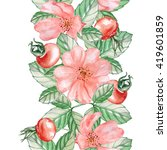 the rose hips. seamless border. ... | Shutterstock . vector #419601859