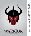 horned head warrior mascot.... | Shutterstock .eps vector #419613448