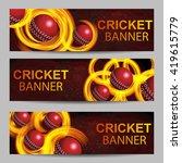 illustration of fiery cricket... | Shutterstock .eps vector #419615779