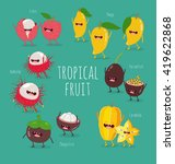 funny tropical fruits. mango ... | Shutterstock .eps vector #419622868