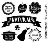 organic food labels set  black... | Shutterstock .eps vector #419625034