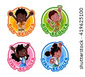 set of four stickers with happy ... | Shutterstock .eps vector #419625100