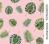 palm tropical leaves seamless... | Shutterstock . vector #419626024