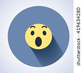 surprised face icon. flat round ... | Shutterstock .eps vector #419634280