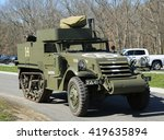 Small photo of BETHPAGE, NEW YORK - APRIL 10, 2016: The M3A1 Scout Car at the Museum of American Armor in Bethpage, NY