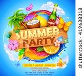 illustration of Summer Party poster design | Shutterstock vector #419638318