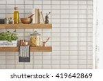 Modern Kitchen Shelf With White ...
