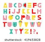 hand drawn alphabet. unusual... | Shutterstock .eps vector #419653828