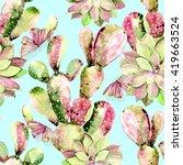 watercolor cactus  butterflies  ... | Shutterstock . vector #419663524