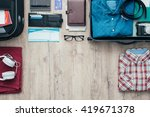 getting ready for a trip and... | Shutterstock . vector #419671378
