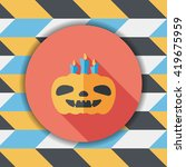 pumpkin candle flat icon with...   Shutterstock .eps vector #419675959