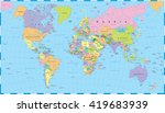 colored world map   borders ... | Shutterstock .eps vector #419683939