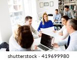 businesspeople collaborating... | Shutterstock . vector #419699980