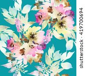 seamless pattern with flowers... | Shutterstock . vector #419700694