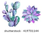 watercolor cactus  isolated on... | Shutterstock . vector #419701144
