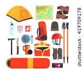 mountain camping equipment set... | Shutterstock .eps vector #419709178