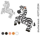 coloring page. little zebra... | Shutterstock .eps vector #419713534