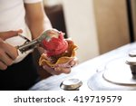 cropped image of waiter serving ... | Shutterstock . vector #419719579