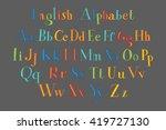 retro alphabet vector font.... | Shutterstock .eps vector #419727130