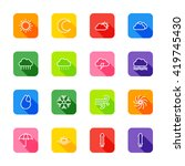white line weather icon set on...