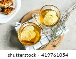 cup of green tea with cinnamon  ...   Shutterstock . vector #419761054