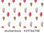 sweet ice cream and popsicle... | Shutterstock .eps vector #419766748