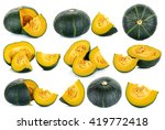 Set Green Pumpkin Isolated On...
