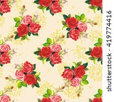 seamless floral pattern red and ...   Shutterstock .eps vector #419774416