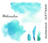 set of blue and turquoise... | Shutterstock . vector #419776444