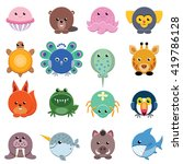 set of vector animals isolated... | Shutterstock .eps vector #419786128