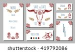 wedding invitation in bohemian... | Shutterstock .eps vector #419792086