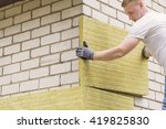 construction worker insulating... | Shutterstock . vector #419825830