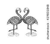 hand drawn flamingo couple... | Shutterstock .eps vector #419831848