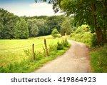Idyllic Footpath Through Fields ...