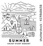 summer flat line art... | Shutterstock .eps vector #419868658