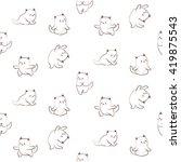 seamless pattern of cute cat... | Shutterstock .eps vector #419875543