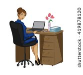 business woman at the desk with ... | Shutterstock .eps vector #419878120