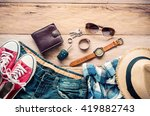 travel clothing accessories... | Shutterstock . vector #419882743